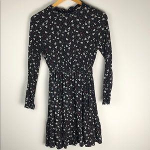 Yumi Black Floral Print Long Sleeve Midi Dress XS